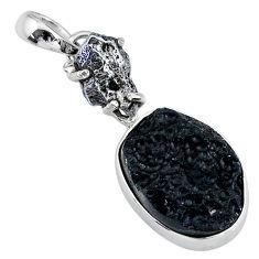 14.72cts natural black tektite campo del cielo (meteorite) silver pendant t15124