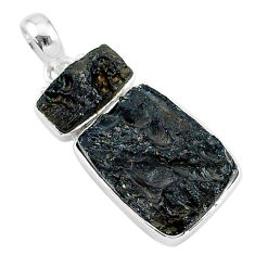 15.08cts natural black tektite freedom stone 925 sterling silver pendant t14176