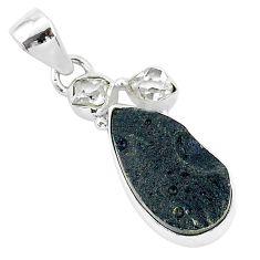 12.22cts natural black tektite herkimer diamond 925 silver pendant t1262