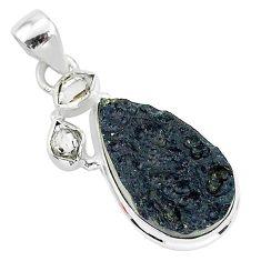15.08cts natural black tektite herkimer diamond 925 silver pendant t1265