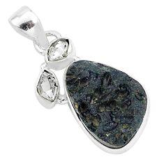 14.23cts natural black tektite herkimer diamond 925 silver pendant t1266