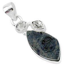 13.70cts natural black tektite herkimer diamond 925 silver pendant t1271