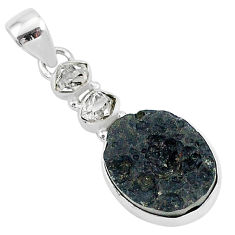 13.70cts natural black tektite herkimer diamond 925 silver pendant t1272
