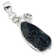 14.23cts natural black tektite herkimer diamond 925 silver pendant t1279