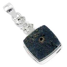 15.65cts natural black tektite herkimer diamond 925 silver pendant t1280