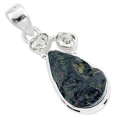 13.70cts natural black tektite herkimer diamond 925 silver pendant t1281