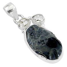 13.70cts natural black tektite herkimer diamond 925 silver pendant t1285