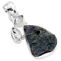13.67cts natural black tektite herkimer diamond 925 silver pendant t1286