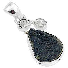 10.65cts natural black tektite herkimer diamond 925 silver pendant t1289