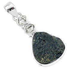 14.05cts natural black tektite herkimer diamond 925 silver pendant t1293