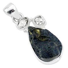 13.17cts natural black tektite herkimer diamond 925 silver pendant t1295