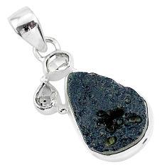 12.58cts natural black tektite herkimer diamond 925 silver pendant t1296