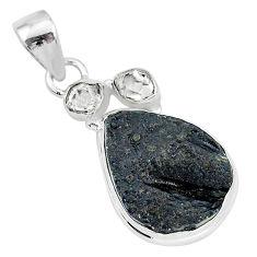 13.70cts natural black tektite herkimer diamond 925 silver pendant t1300
