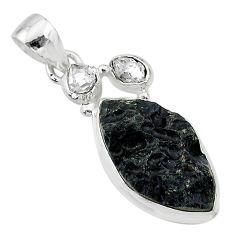 12.10cts natural black tektite herkimer diamond 925 silver pendant t20644