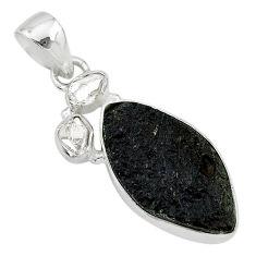 11.25cts natural black tektite herkimer diamond 925 silver pendant t20647