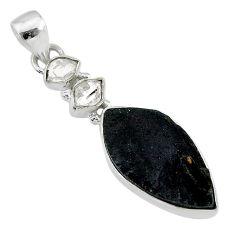 12.10cts natural black tektite herkimer diamond 925 silver pendant t20648
