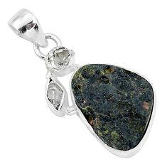 13.67cts natural black tektite herkimer diamond fancy 925 silver pendant t1288