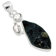12.10cts natural black tektite herkimer diamond fancy 925 silver pendant t20657