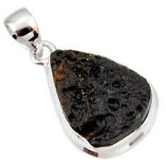 11.17cts natural black tektite pear 925 sterling silver pendant jewelry r33915