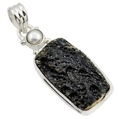 Clearance Sale- 17.22cts natural black tektite pearl 925 sterling silver pendant jewelry d45415