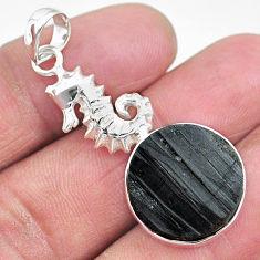 15.11cts natural black tourmaline raw 925 silver seahorse pendant t9855