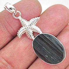 14.12cts natural black tourmaline raw 925 silver star fish pendant t9868