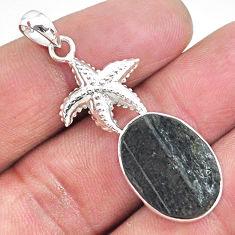 13.79cts natural black tourmaline raw 925 silver star fish pendant t9876