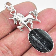 13.69cts natural black tourmaline raw 925 sterling silver horse pendant t9844