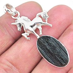 13.28cts natural black tourmaline raw 925 sterling silver horse pendant t9850