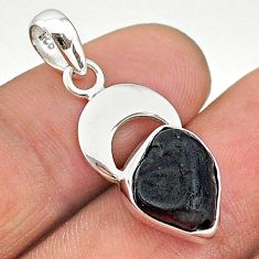 5.80cts natural black tourmaline raw 925 sterling silver pendant t20865