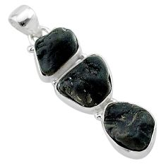 16.65cts natural black tourmaline rough 925 sterling silver pendant t22310