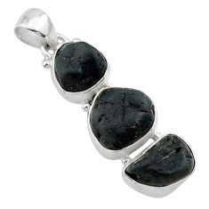 14.90cts natural black tourmaline rough 925 sterling silver pendant t22312