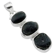 15.34cts natural black tourmaline rough 925 sterling silver pendant t22317
