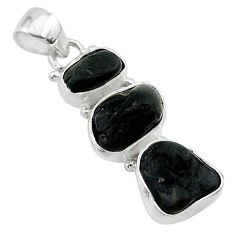 12.60cts natural black tourmaline rough 925 sterling silver pendant t22743