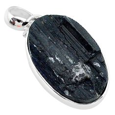 15.18cts natural black tourmaline raw 925 sterling silver pendant t9787