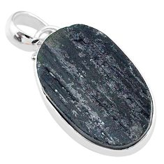 14.20cts natural black tourmaline raw 925 sterling silver pendant t9789