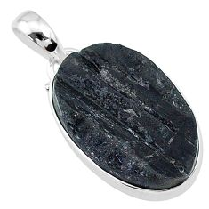 14.20cts natural black tourmaline raw 925 sterling silver pendant t9792