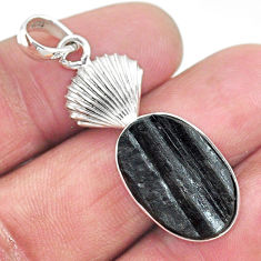 12.06cts natural black tourmaline raw 925 sterling silver pendant t9877