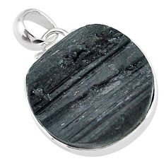 17.22cts natural black tourmaline raw 925 sterling silver pendant t9947