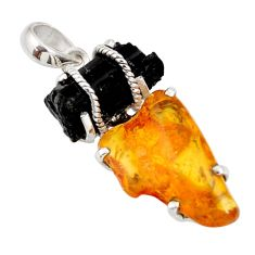 16.28cts natural black tourmaline rough amber 925 sterling silver pendant d39200