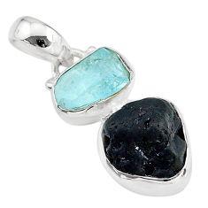8.56cts natural black tourmaline rough aquamarine 925 silver pendant t20948