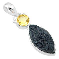 10.65cts natural black tourmaline raw citrine 925 silver pendant t9761