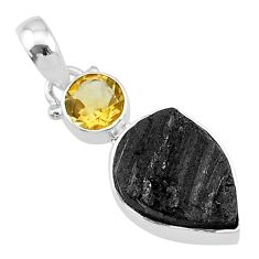 7.93cts natural black tourmaline raw citrine 925 sterling silver pendant t9778