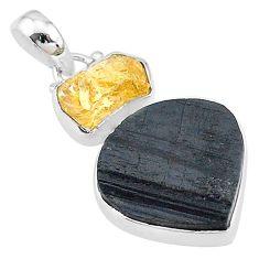 15.08cts natural black tourmaline raw citrine rough 925 silver pendant t9801