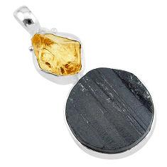 17.57cts natural black tourmaline raw citrine rough 925 silver pendant t9815