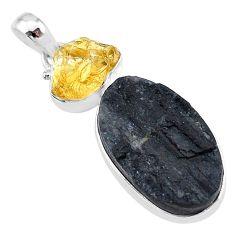 17.57cts natural black tourmaline raw citrine rough 925 silver pendant t9818