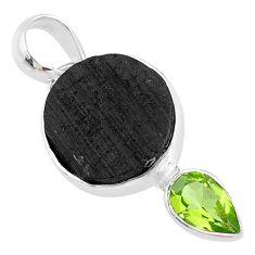 10.05cts natural black tourmaline raw green peridot 925 silver pendant t9768