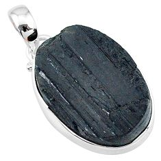 15.65cts natural black tourmaline raw oval 925 sterling silver pendant t9786