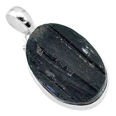 14.23cts natural black tourmaline raw oval 925 sterling silver pendant t9794