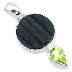 10.05cts natural black tourmaline raw peridot 925 silver pendant t9762